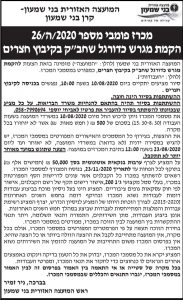 פרסום מודעת מכרז למועצה האזורית בני שמעון בעיתון הארץ ובעיתון גלובס