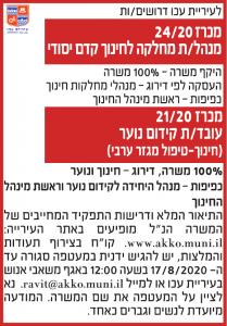 פרסום מודעת דרושים לעיריית עכו בעיתון ידיעות אחרונות, בעיתון כלכליסט ובעיתון אל סינארה