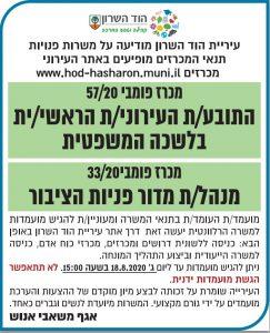פרסום מודעת מכרז להוד השרון בעיתון ישראל היום ובעיתון גלובס