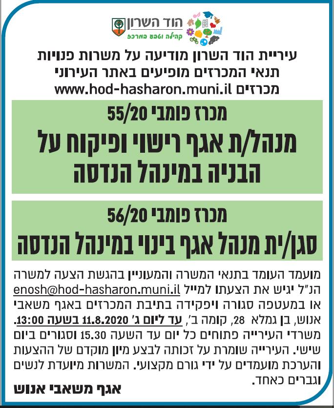 פרסום מודעת דרושים לעיריית הוד השרון בעיתון ישראל היום ובעיתון גלובס