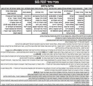 פרסום מודעת מכרז למבנה בעיתון ידיעות אחרונות, בעיתון גלובס ובעיתון ישראל היום