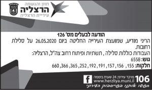 פרסום מודעת תכנון ובנייה לעירית הרצליה בעיתון ישראל היום, בעיתון מקור ראשון ובעיתון צומת השרון