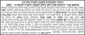 פרסום מודעת תכנון ובניה לועדה המקומית מודיעין בעיתון מעריב, בעיתון ישראל היום ובעיתון אל סינארה