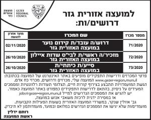 פרסום מודעות דרושים למועצה האזורית גזר בעיתון הארץ, בעיתון מעריב ובעיתון ישראל היום