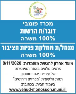 פרסום מודעת דרושים דובר לעיריית יהוד מונסון בעיתון גל גפן ובעיתון ישראל היום