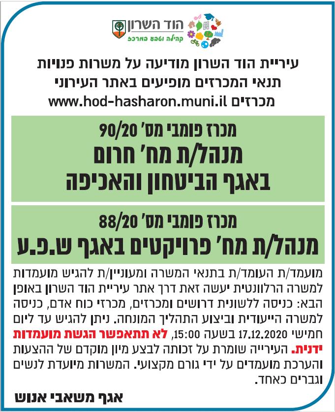 פרסום מודעות דרושים לעיריית הוד השרון בעיתון ידיעות אחרונות ובעיתון ישראל היום