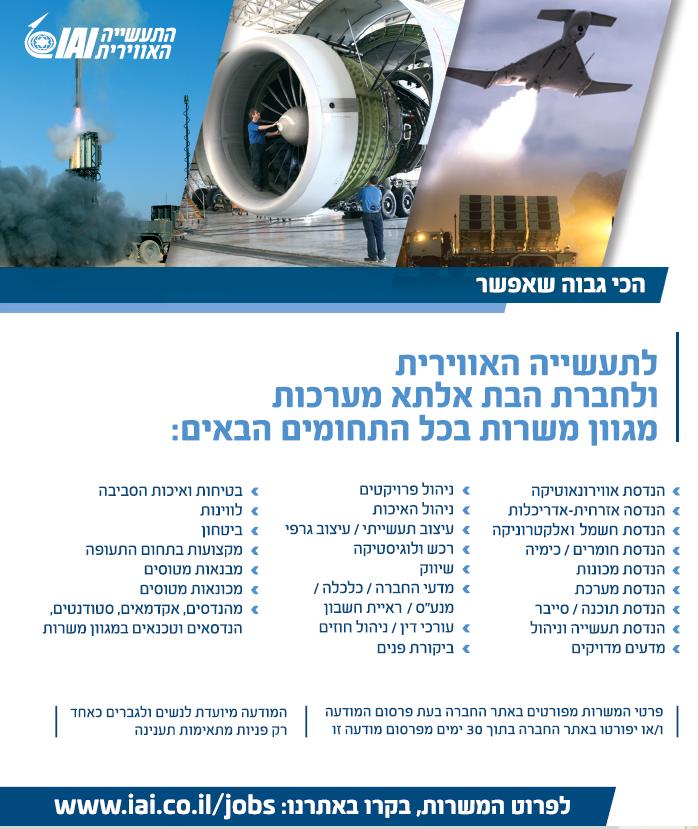 פרסום מודעת דרושים עובדים לתעשייה האווירית בעיתון ידיעות אחרונות, בעיתון הארץ ובעיתון מעריב