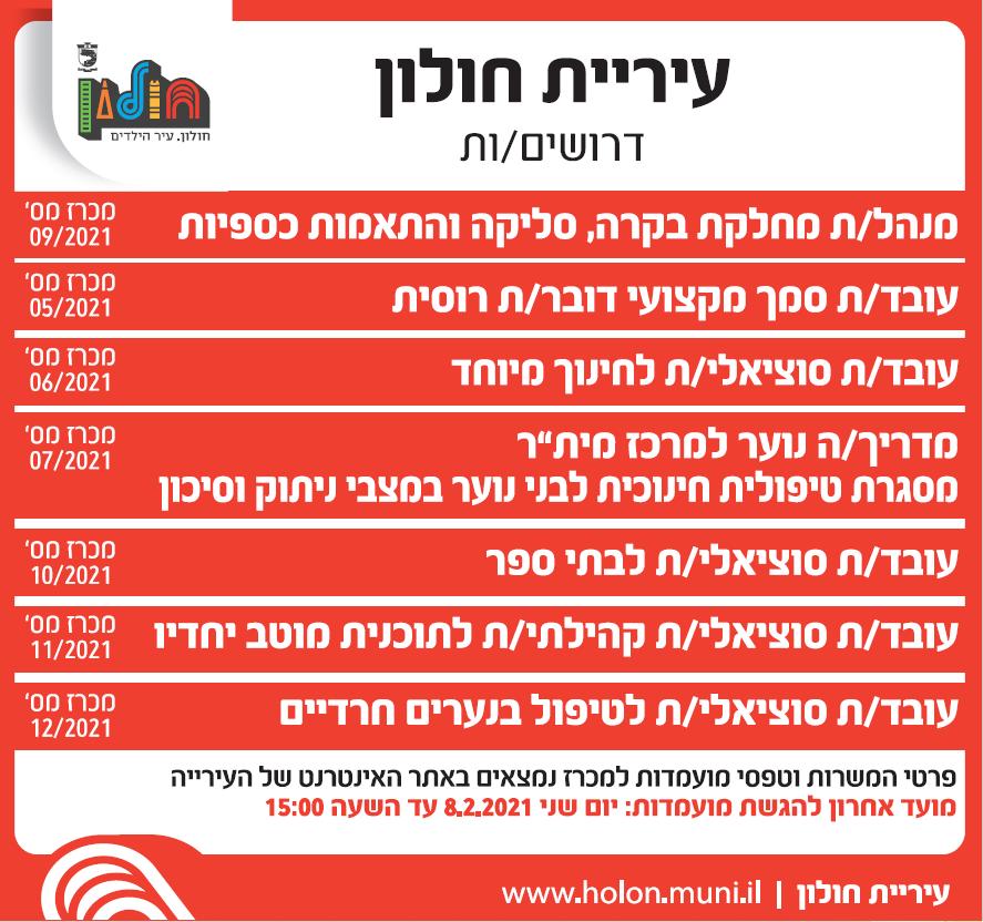 פרסום מודעת דרושים משרות בעיריית חולון לעיתון ישראל היום ובעיתון ידיעות אחרונות