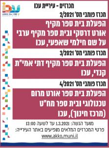 פרסום מודעת דרושים משרות בעיתון לעיריית עכו בעיתון ישראל היום ובעתון גלובס