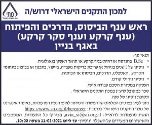 פרסום מודעת דרושים למשרת ראש ענף הביסוס, הדרכים והפיתוח למכון התקנים הישראלי בעיתון מעריב ובעיתון גלובס