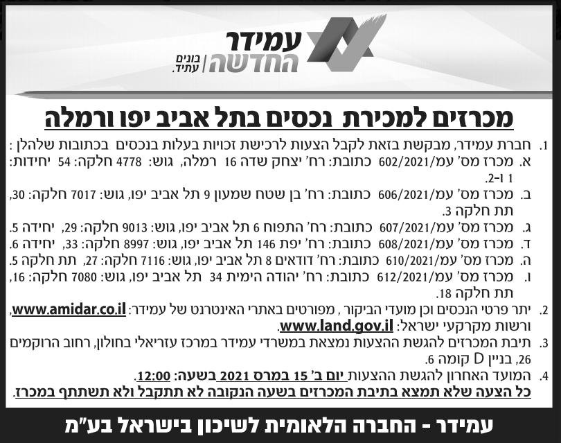 פרסום מודעת מכרז למכירת נכסים בתל אביב יפו ורמלה בעיתון ידיעות אחרונות, בעיתון אל סינארה ובעיתון הארץ