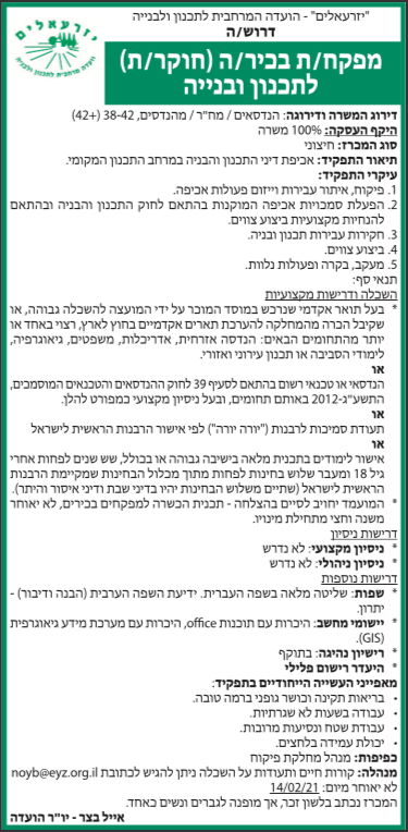 פרסום מודעת מכרז למשרת מפקח בניה לוועדת יזרעאלים בעיתון מעריב ובעיתון הארץ