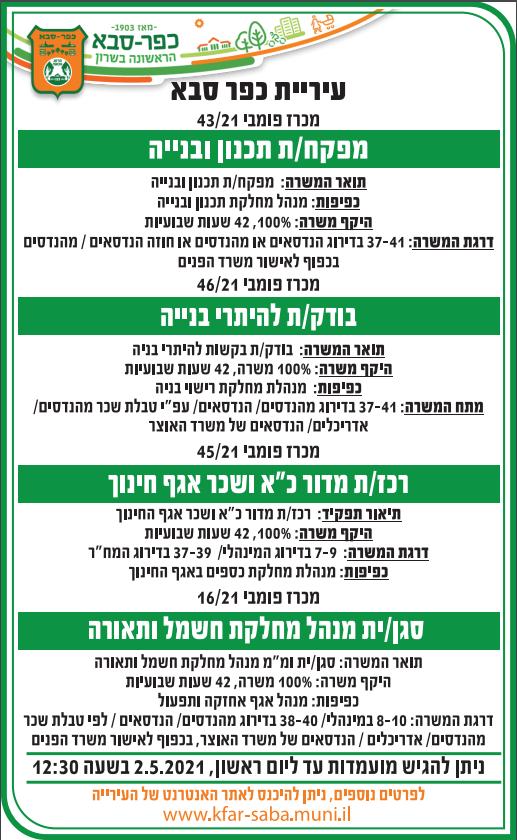 פרסום מודעת דרושים לתפקידים במחלקת בינוי, חינוך, אחזקה ותפעול לעיריית כפר סבא בעיתון ישראל היום ובעיתון ירוק