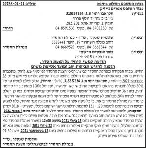 פרסום מודעת נושים בנוגע להצעת הסדר ע״י עו״ד שולמית שנקלר, מנהלת ההסדר בעיתון מעריב ובזמן חיפה