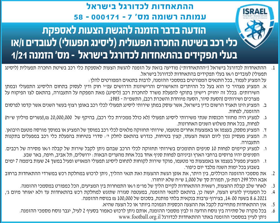 פרסום מודעת הזמנה להציע הצעות לאספקת כלי רכב בשיטת החכרה תפעולית (ליסינג) להתאחדות לכדורגל בישראל בעיתון גלובס ובעיתון ישראל היום