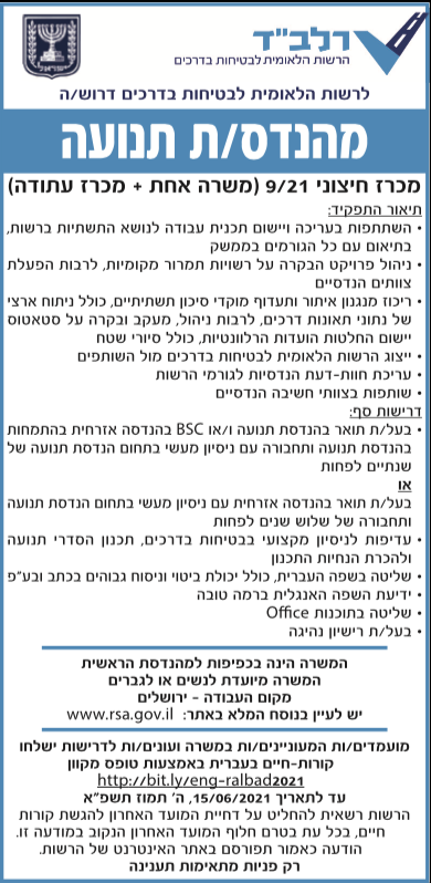 פרסום מודעת דרושים לתפקיד מהנדס/ת תנועה בירושלים עבור הרשות הלאומית לבטיחות בדרכים בעיתון ידיעות אחרונות, בעיתון מעריב ובעיתון ישראל היום