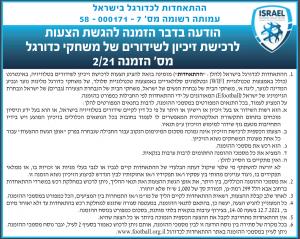 פרסום מודעת הזמנה להציע הצעות לרכישת זיכיון לשידורי משחקי כדורגל, עבור ההתאחדות לכדורת בישראל (ע.ר.) בעיתון ישראל היום ובעיתון גלובס