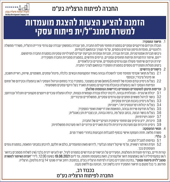 פרסום מודעת הזמנה להציע הצעות להצגת מועמדות למשרת סמנכ״ל/ית פיתוח עסקי עבור החברה לפיתוח הרצליה בע״מ בעיתונים ישראל היום, ידיעות אחרונות וגלובס