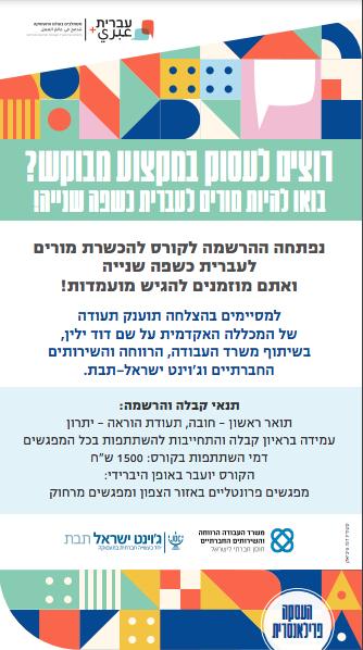 מודעת דרושים לתפקיד מורים לעברית עבור ארגון ג׳וינט ישראל ומשרד העבודה והרווחה פורסמה בעיתונים ידיעות הצפון וידיעות העמק