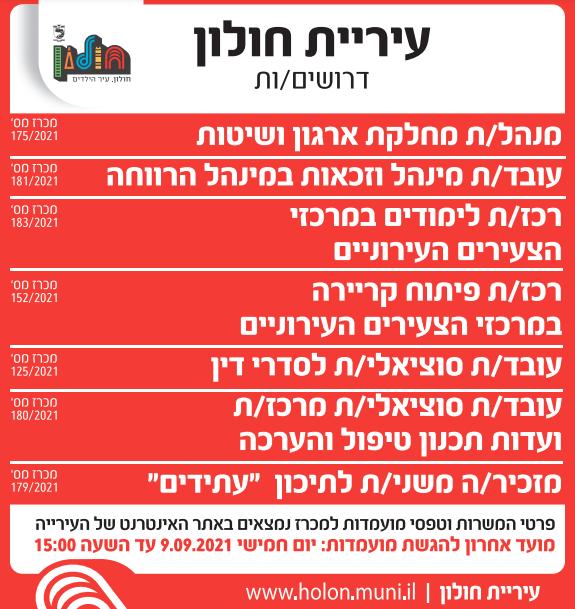 מודעת דרושים לתפקידים שונים בתחומי החינוך, הרווחה ועוד בעיריית חולון, פורסמה בעיתון ידיעות אחרונות ובעיתון ישראל היום