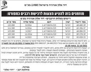 פרסום מודעת הזמנה להציע הצעות לרכישת רכבים עבור דור אלון אנרגיה בישראל בע״מ בעיתונים ישראל היום וידיעות אחרונות