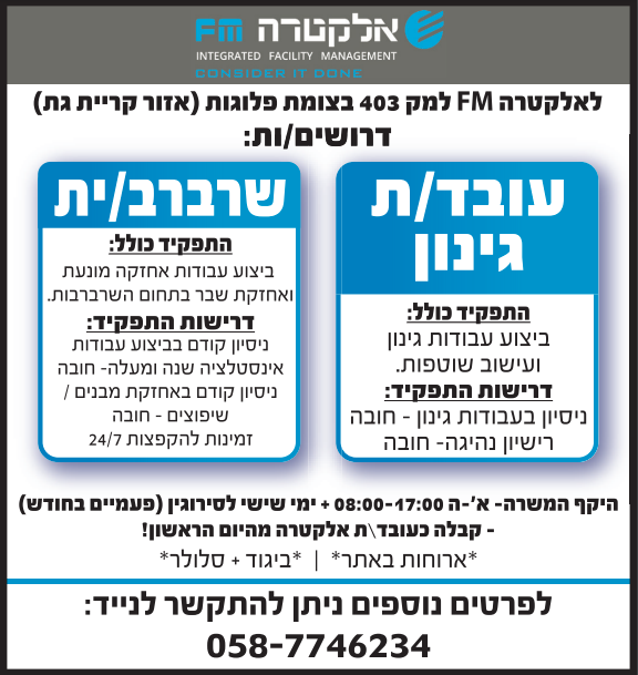 פרסום מודעת דרושים לתפקיד עובד/ת גינון ולתפקיד שרברב/ית עבור חברת אלקטרה FM בעיתונים ישראל היום, מעריב וידיעות אחרונות