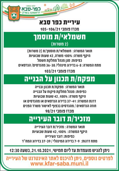 מודעת מכרז למגוון תפקידים בעיריית כפר סבא, פורסמה בעיתונים ישראל היום, מעריב ובעיתון ירוק