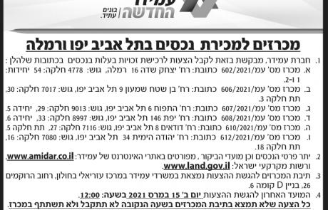 מודעת מכרז לנכסים בתל אביב יפו ורמלה