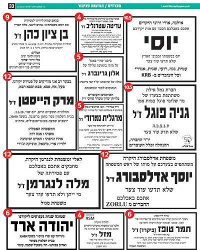 פרסום מודעת אבל בישראל היום